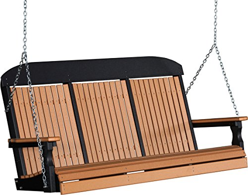 Outdoor Poly 5 Foot Porch Swing - Classic Highback Design -cedar And Black Color