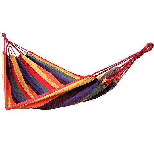 SONGMICS Outdoor Garden Cotton Hammock Portable Camping Hanging Swing Bed Heavy Duty Hammock UGDC210