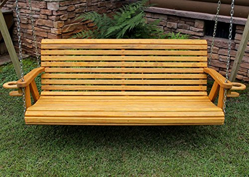 Roll Back Amish Heavy Duty 800 Lb 5ft Porch Swing With Cupholders - Cedar Stain - Made In Usa