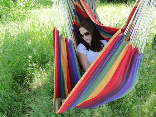 OutdoorIndoor Cotton Brazilian Hanging Hammock Chair - Rainbow Colors