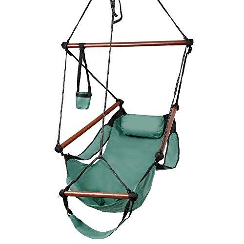 Valuebox Hammock Hanging Chair Air Deluxe Sky Swing Seat W Pillow and Drink Holder Solid Wood IndoorOutdoor Garden Patio Yard 250lbs Green