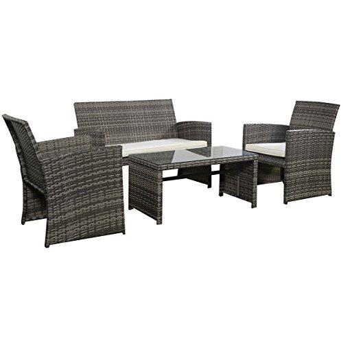 Goplus 4 PC Rattan Patio Furniture Set Garden Lawn Sofa Cushioned Seat Mix Gray Wicker Sofa