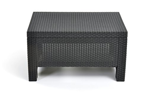 Keter Corfu Coffee Table New All Weather Outdoor Patio Garden Backyard Furniture Charcoal