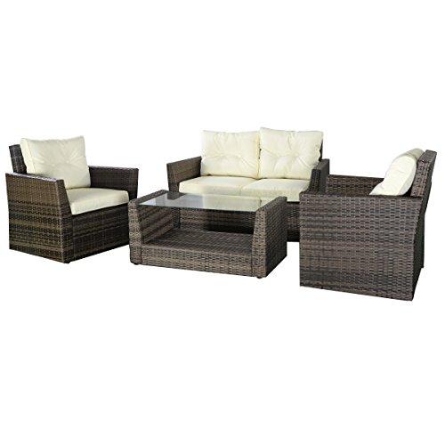 Tangkula 4pc Rattan Sofa Furniture Set Patio Lawn Cushioned Seat Gradient Brown Wicker