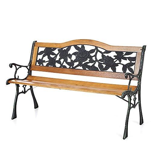IKAYAA Cast Iron Wood Outdoor Patio Park Garden Bench Furniture Deck Porch Backyard Lawn Chair Rose Pattern