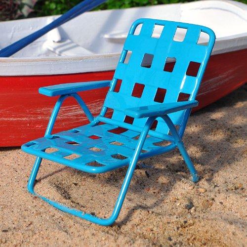 Miniature Fairy Garden Web Lawn Chair Blue