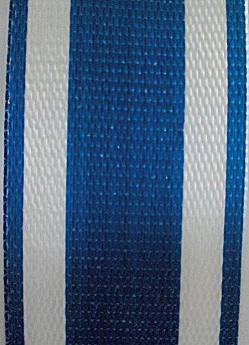 WebbingProTM Blue Stripe Lawn Chair Webbing 3 Inches Wide 100 Feet Long Roll