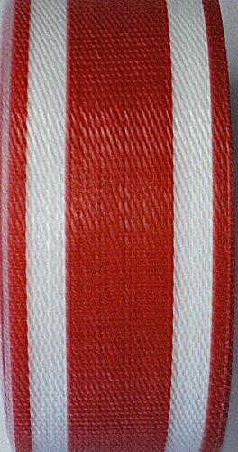 WebbingProTM Red Stripe Lawn Chair Webbing 2 14 Inch Wide 100 Feet Long Roll