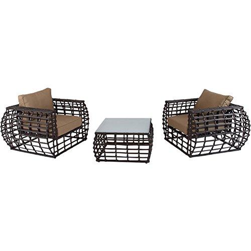Hanover Outdoor Furniture Soho 3 Piece Modern Lounge Set Brownbeige
