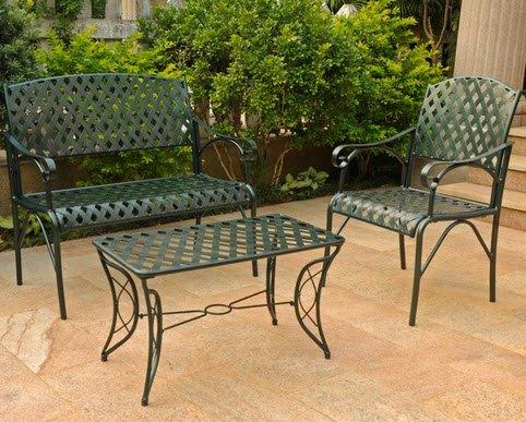 International Caravan Diamond Lattice Three-piece Iron Outdoor Lounge Patio Table Chair Bench Furniture Set