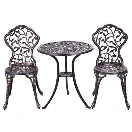 Giantex Outdoor Patio Furniture Leaf Design Cast Aluminum Bistro Set Antique Copper