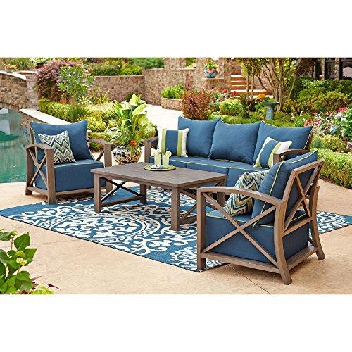 Outdoor Seating Set 4 Piece Rust-free Aluminum Patio Conversation Furniture Indigo