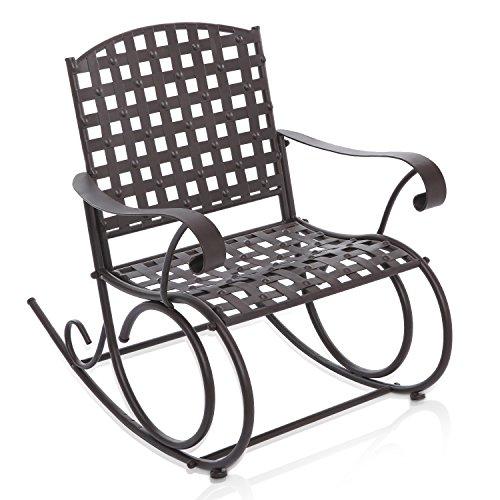 Decorative Dark Brown Woven Metal Rocking Chair  Outdoor Patio Deck Furniture Rocker - MyGift