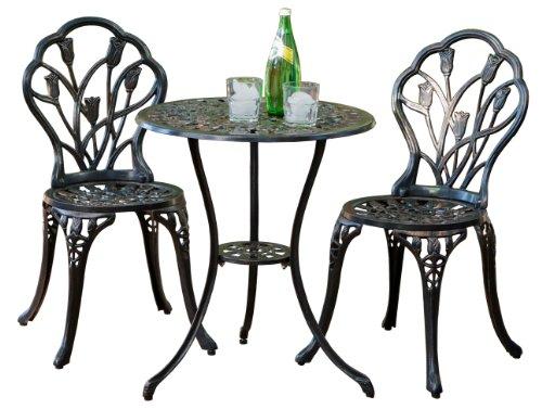 Best Selling Nassau Cast Aluminum Outdoor Bistro Furniture Set Brown