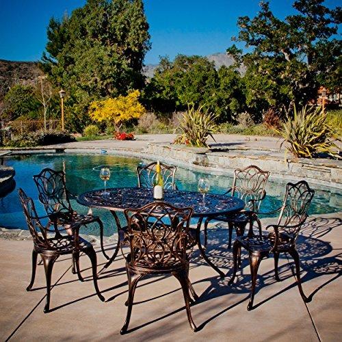 Gardena Cast Aluminum Outdoor Dining Set set Of 7