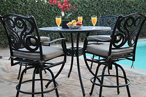 Cbm Outdoor Patio Furniture 5 Piece Aluminum 48&quot Bar Table Set With 4 Swivel Bar Stool Cbm1290