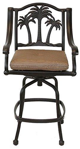 Palm Tree Outdoor Patio Set 6pc Swivel Barstools 30 H Dark Bronze Cast Aluminum Walnut Cushions