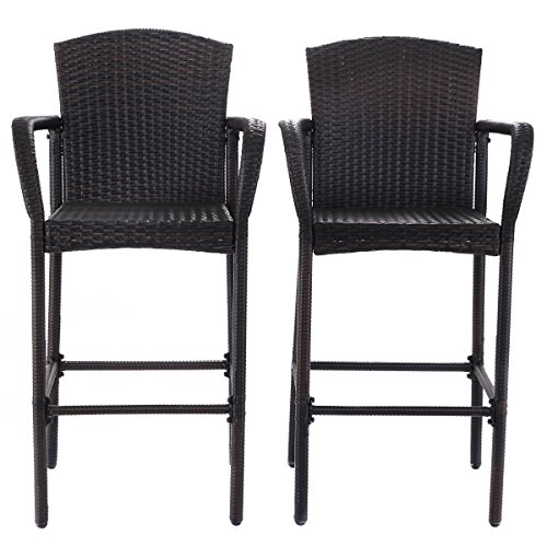 Solid Steel Frame Rattan Wicker Bar Stool Dining High Counter Chair Patio Furniture Armrest