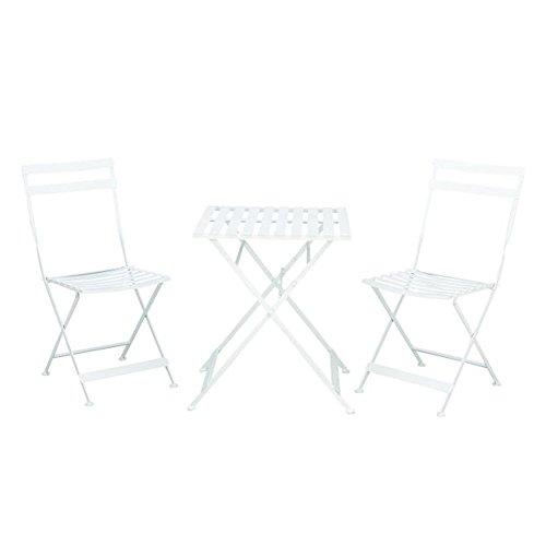 Benzara 27174 Chic Metal White Bistro Patio Furniture Set of 3