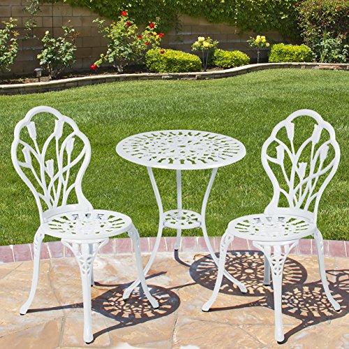 Best Choiceproducts Outdoor Patio Furniture Tulip Design Cast Aluminum Bistro Set In White