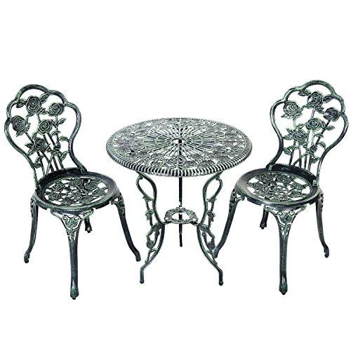 Giantex Patio Furniture Cast Aluminum Rose Design Bistro Set Antique Green green