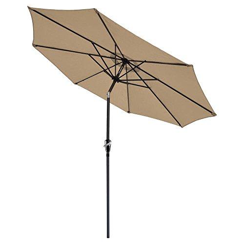 9 Tilt Sun Shading Tan Crank Aluminum Umbrella Shades Patio Outdoor Market Beach Deck 92x1&frac12&quot Tiltable Aluminum