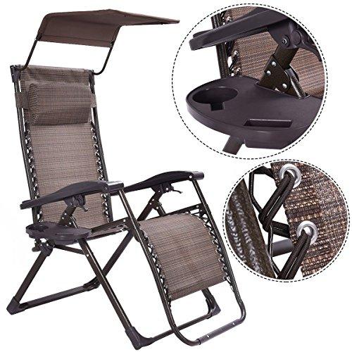 Foldable Zero Gravity Chair Lounge Patio Outdoor Yard Recliner w SunshadeTray