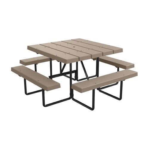 4 Square BarcoBoard Plastic Picnic Table - Desert Tan - Seats 8