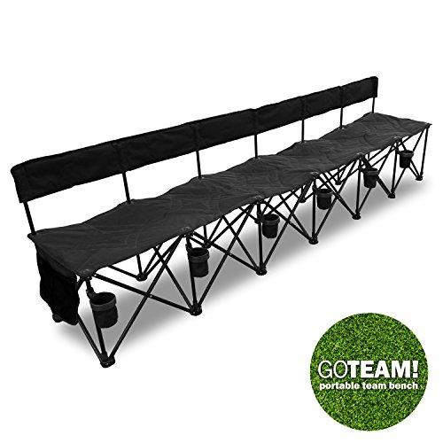 Goteam Pro 6 Seat Portable Folding Team Bench - Black