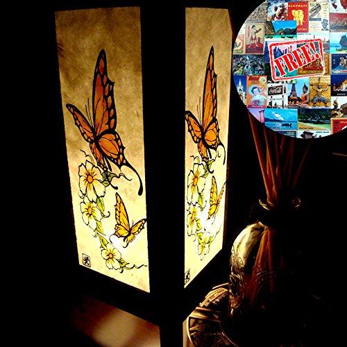 Butterfly Flower White Table Lamp Night Light Lighting Shade Floor Desk Outdoor Touch Room Bedroom Modern Vintage Handmade Asian Oriental Wood LED Bedside Gift Art Home Garden Christmas Free Adapter Us 2 Pin Plug 166