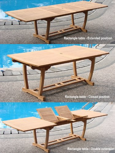 Grade-a Teak Wood Extra Large Double Extension 117&quot Mas Rectangle Dining Table With Trestle Legs whdt118rm
