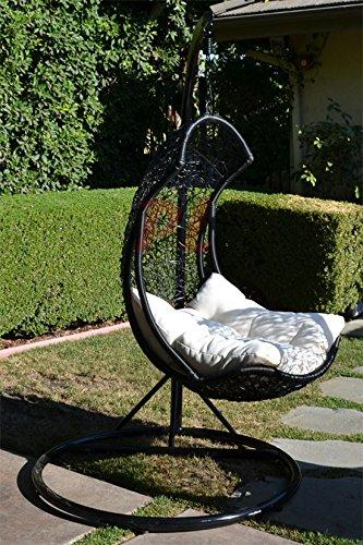Egg Shape Wicker Rattan Swing Bed Chair Weaved Hanging Hammock- Blackkhaki