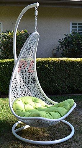 Egg Shape Wicker Rattan Swing Bed Chair Weaving Lounge Hanging Hammock- White  Lime