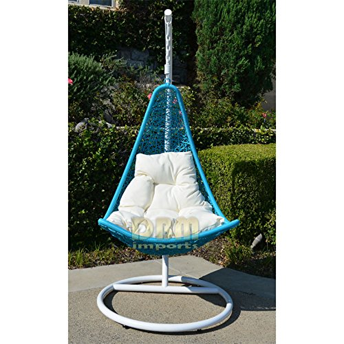 Egg Shape Wicker Rattan Swing Lounge Chair Weaved Hanging Hammock In Or Out Door Patio Porch - White Turquoise