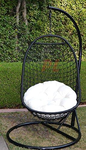 Wicker Rattan Swing Bed Chair Weaved Egg Shape Hanging Hammock- Blackkhaki