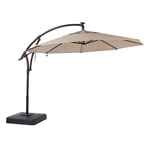 Hampton Bay 11 Ft Offset Led Patio Umbrella In Tan 132x111x132 Sand