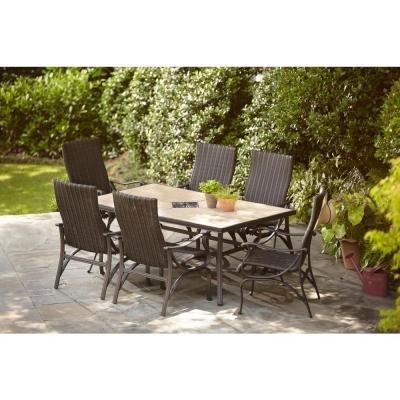 Hampton Bay Pembrey 7-Piece Decorative Outdoor Patio Dining Set Seats 6
