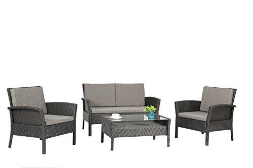 Baner Garden N57-BLACK Outdoor Furniture Complete Patio 4 Piece Polyethylene Wicker Rattan Garden Set Black