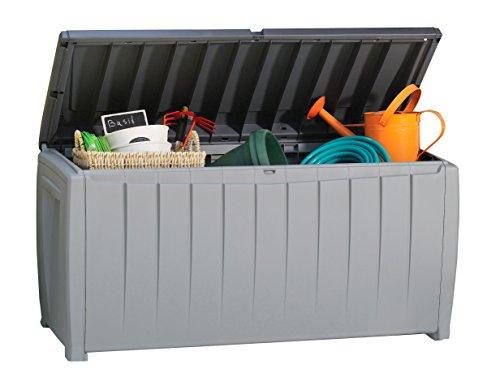 Keter Novel Plastic Deck Storage Container Box Outdoor Patio Garden Furniture 90 Gal Black