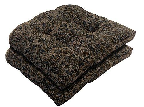 Bossima Indooroutdoor Blackgold Damask Wicker Seat Cushions Set Of 2springsummer Seasonal Replacement Cushions