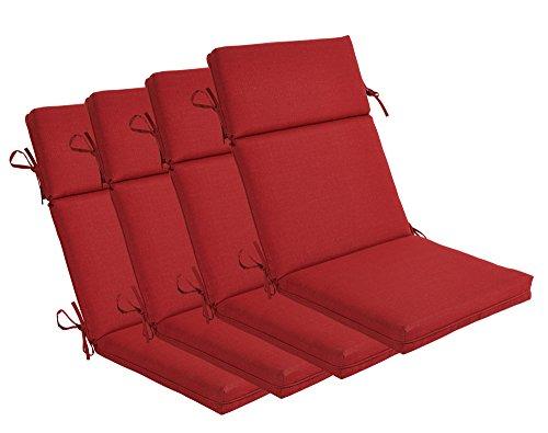 Bossima Indooroutdoor Rust Red High Back Chair Cushion Set Of 4springsummer Seasonal Replacement Cushions