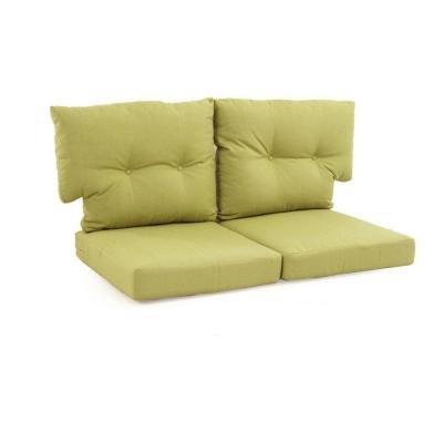 Martha Stewart Living Fast Drying Charlottetown Green Bean Replacement Outdoor Loveseat Cushion