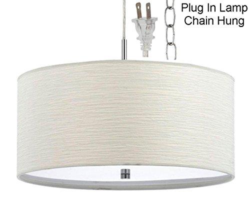 Plug In White Nickel Modern Drum Pendant Light Swag Lamp Hanging Chandelier 18&rdquo Wide