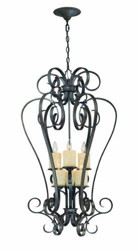 World Imports 5956-97 Stafford Spring Collection 6-Light Hanging Chandelier Dark Antique Bronze