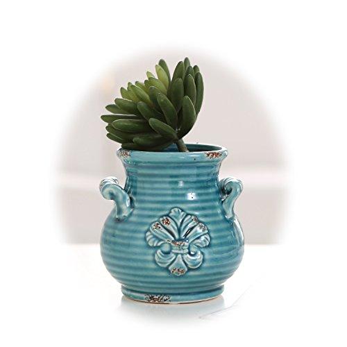 Small Blue Rustic French Fleur-de-lis Design Ceramic Plant Flower Planter Pot  Desktop Pencil Holder
