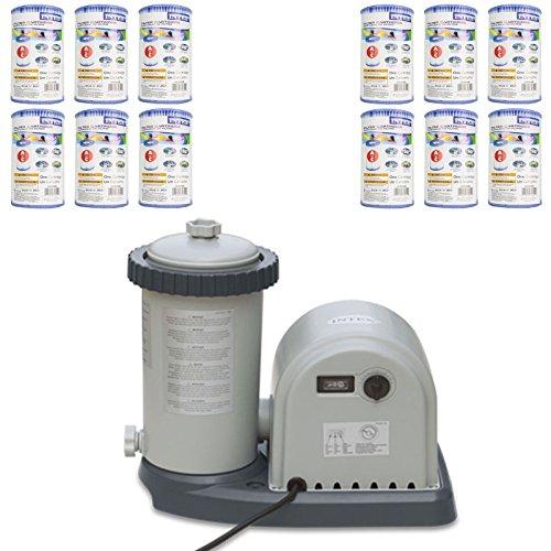 Intex 1500 GPH Easy Set Pool Filter Pump w GFCI 12 Type A Filter Cartridges