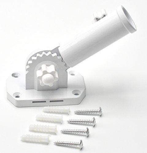 Heavy Duty Adjustable Aluminum Flag Pole Bracket - Multi-Position Mount 1 Diameter White Powder Coated Aluminum Flagpole Holder