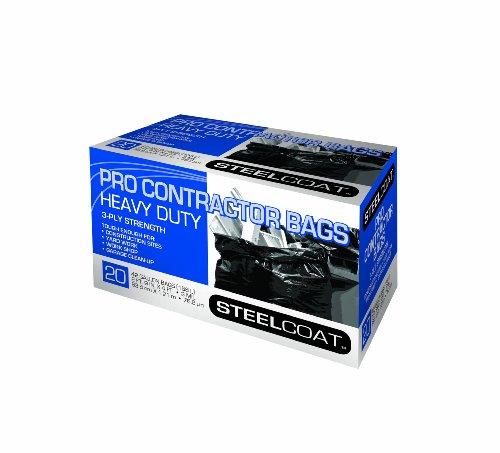 Petoskey Plastics 94105 Steelcoat Heavy Duty Pro Contractor Trash Bags 42-gallon Black 20-pack