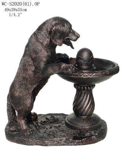 Garden Patio Outdoor Indoor Labrador Dog Sculpture Statue Water Fountain With Pump Medium Size 20H WC-S202061