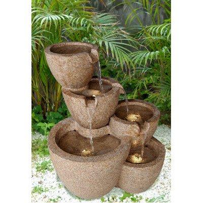 Sandstone Tiered Multi-Pots Fountain